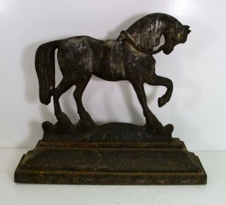 ANTIQUE CAST IRON HORSE STALLION DOOR STOP   LARGE AND HEAVY  FOUND IN