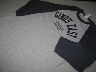 Ginos East Chicago Est 1966 Pizza Pie T Tee Shirt Baseball Style Gray