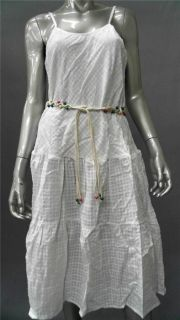 Dotti Beach Misses L Cotton Tank Dress Cover Up White Tiered Designer