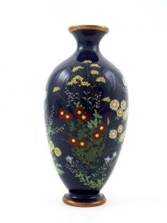 Blooming Flowers Japanese Cloisonne Vase