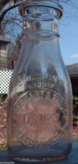 dairy milk bottle 1 one pint EBERHART RHODES Punxsutawney Pa Jefferson