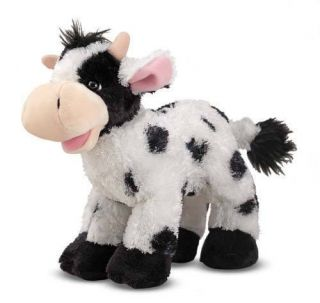 White Cow Stuffed Animal Checkers Soft and Fuzzy Farm Melissa & Doug