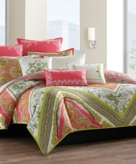 NEW Echo Design Gramercy Pink & Green Paisley Twin Comforter COMPLETE