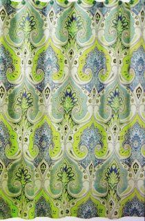 Echo Design Cotton Shower Curtain Sardinia Paisley Aqua Blue Green New