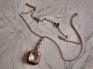 Vintage Art Deco Sterling Silver w Rock Crystal Lavalier Pendant