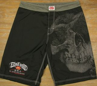 Ecko Unltd MMA Skull Mens Black Poly Fight Swim Surf Board Shorts $