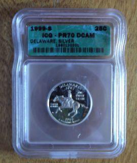 1999 S SILVER STATE QUARTER ICG PR70 DCAM DELAWARE STATE LOWEST PRICE