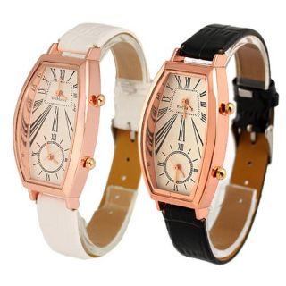 White&Black Gorgeous Ladies Womens Dual Time Quartz Wrist Watches G131