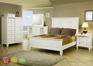 King Size White Wood Panel Bed Bedroom Furniture Set