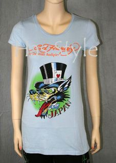 Ed Hardy T Shirt Lover Boy Blue Rhinestones Wolf Japan