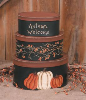 Primitive Fall Autumn Welcome Stacking Boxes Pumpkins