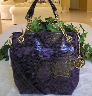 New Michael Kors Jet Set Item Medium Chain Shoulder Tote Purple