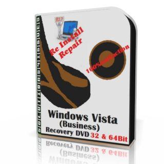 Windows Vista Business re Install DVD Repair Fit 32 64bit