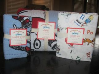 Pottery Barn Kids Dr Seuss Cat in The Hat Quilt Sham Sheets Twin New 5