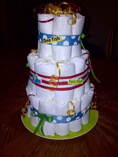 Dr. Seuss One Fish Two Fish Red Fish Blue Fish Three Tier Diaper Cake