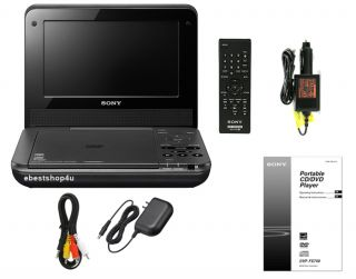 """Sony DVP FX750 7"""" Portable DVD Player w Remote and Car Adapter Disc"""