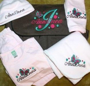 Personalized Baby Gift Blanket, Hat, Bib, Bodysuit, Pants