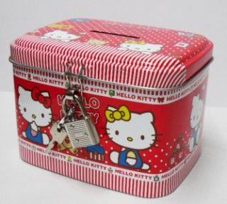 sanrio hello kitty coin bank money pot w lock red