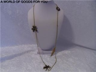 New Anthropologie Dragonfly Flower Crystal Charms 37 Gold Necklace