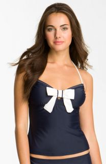 New Eco Swim Bow Halter Tankini Swim Top Size 8 Color Navy Blue Cream