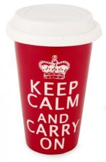 Keep Calm and Carry On Ceramic Eco Travel Mug Cup Insulated Red