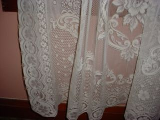 Lace Curtain Panel 83 inches Long Victorian Rose Pattern 889