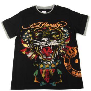 Ed Hardy Black Boys Double Cuff Tiger T Shirt