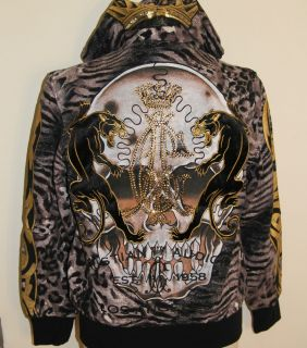 Ed Hardy by Christian Audigier Mens Panther Skull Hoodie Jacket Size M