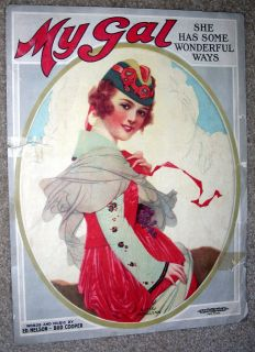 1919 Vintage Sheet Music My Gal by Ed Nelson Bud Cooper Pretty Girl