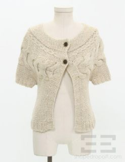 Massimo Dutti Beige Cable Knit Cardigan Sweater Size Small 30 New