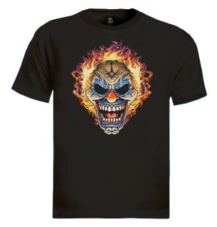 Flaming Clown Skull T Shirt Joker Tattoo Bikers Emo