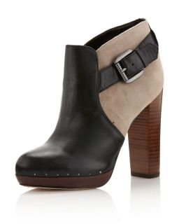 Sam Edelman Lulu Suede Leather Ankle Boot Black Almond