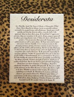 Inventory Clearout Leopard Desiderata Framed Inspirational Poem 11 x
