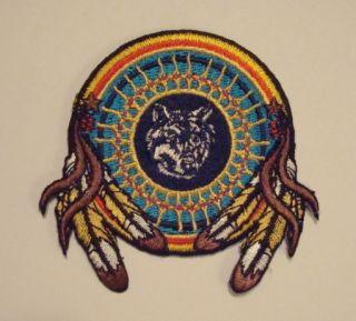 Indian Dream Catcher Wolf Emblem Eagle Feathers Patch