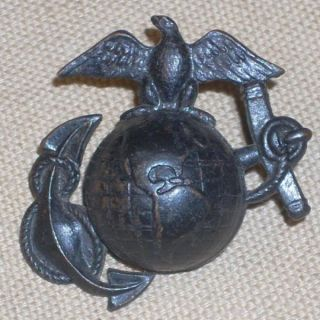 WWI WW1 Lg. EGA USMC Marine Helmet / Hat Badge or Insignia Eagle Globe
