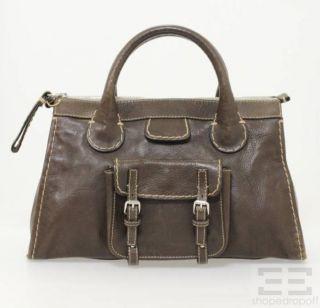 chloe dark brown pebbled leather edith satchel