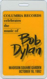 BOB DYLAN 1992 LAMINATED BACKSTAGE PASS GEORGE HARRISON NEIL YOUNG