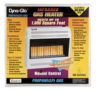 DYNA GLO ML250HPA 5 PLAQUE LP PROPANE GAS INFRARED WALL HEATER 1000SQ