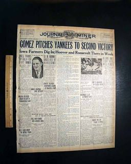 1932 Newspaper NEW YORK YANKEES World Series LOU GEHRIG & Babe Ruth