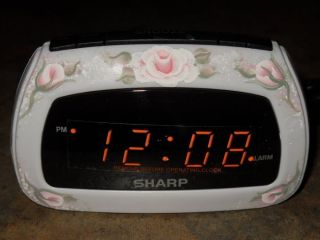 Shabby Cottage Chic Hand Painted Pale Victorian Pink Rose Sharp Alarm