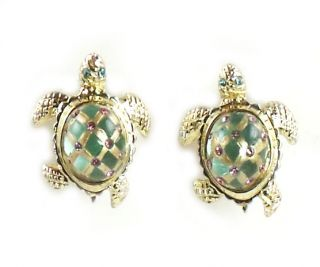 Betsey Johnson Jewelry Sea Excursion Gold Turtle Earrings