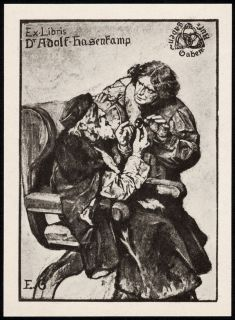 Bookplate by German Artist Eduard Von Gebhard 1900