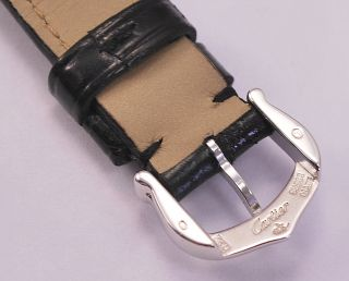 100 Cartier Black Crocodile Leather Strap and 18K White Gold Buckle