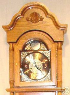 Grandfather Tall Clock Solid Wood Oak Finish