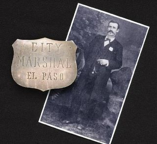 Extremely Rare Antique El Paso Old West Police Lawmans Marshals Badge