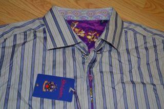 NEW ROBERT GRAHAM MOODY BLUES COTTON SILK BLUE STRIPE MENS DRESS SHIRT