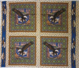 Pillow Panel Quilt Squares Sacred Wings Eagle Native American