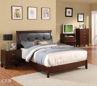 NEW ENRICO I CHERRY BROWN WOOD FULL QUEEN KING PLATFORM BED