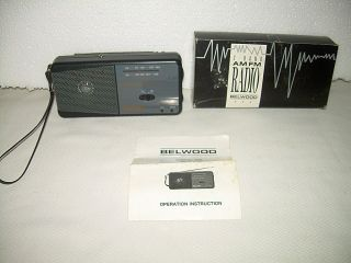Nice Vintage Belwood AM FM Transistor Radio Model 835 Original Box