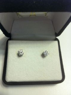 CARAT DIAMOND SOLITAIRE EARRINGS 14K WHITE GOLD BEAUTIFUL EUC